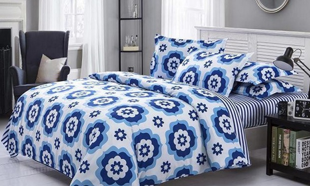Set Cadar Kingqueen Fitted Blue And White