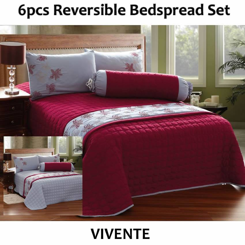6pcs Reversible Bedspread Set vivente