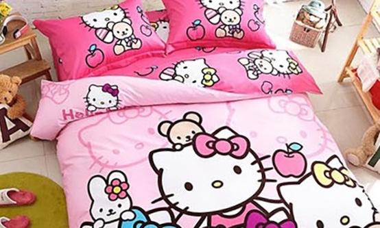 Cadar Hello Kitty King Queen Rainbow Pink
